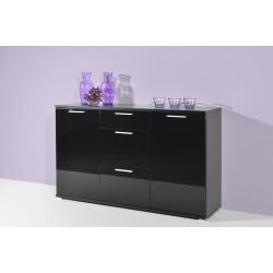 Buffet/bahut design 2 portes/3 tiroirs noir brillant Ameria