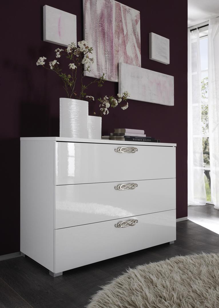 Commode design 3 tiroirs laquée blanche Estelle