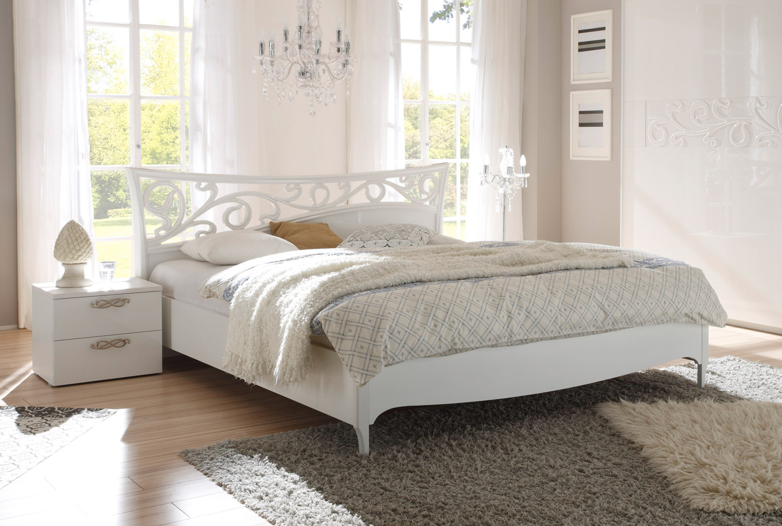 lit adulte design laqu blanc estelle matelpro. Black Bedroom Furniture Sets. Home Design Ideas