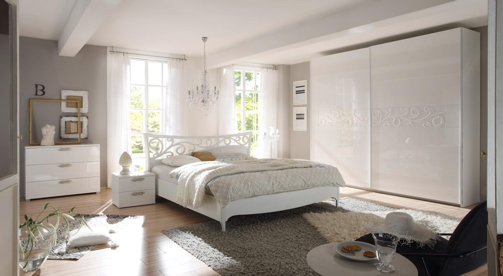 Chambre adulte design laqué blanc Estelle
