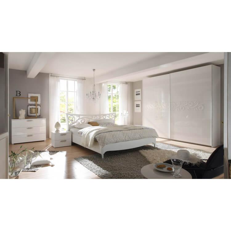 Chambre adulte design laqué blanc Estelle II   Matelpro