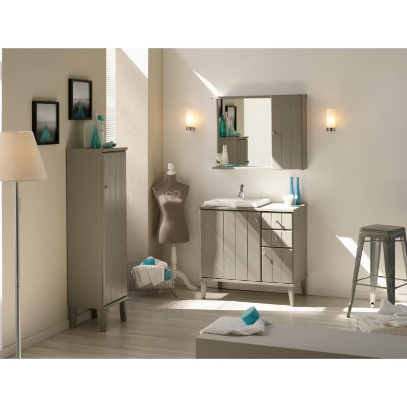 ensemble de salle de bain contemporain coloris gris poivre. Black Bedroom Furniture Sets. Home Design Ideas