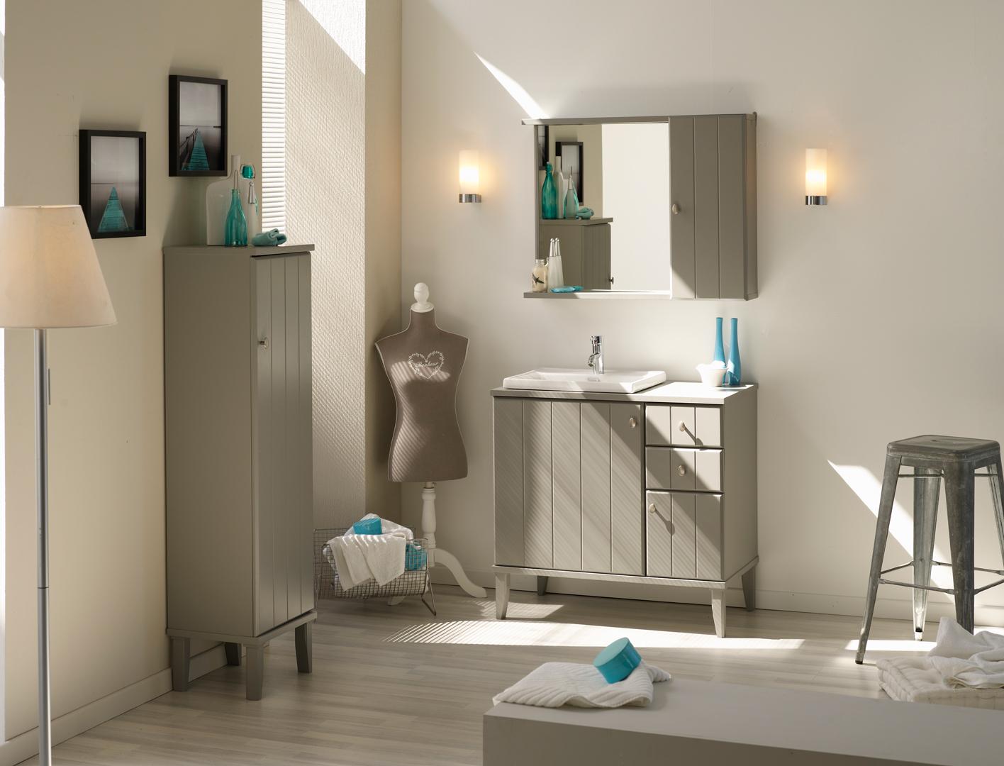 Ensemble de salle de bain contemporain coloris gris poivre Bigaro