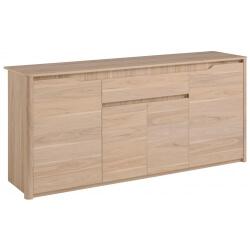 Buffet/bahut contemporain 4 portes/1 tiroir chêne clair Bruno