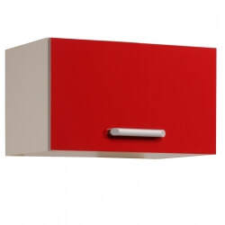 Meuble sous hotte de cuisine contemporain 1 porte 60 cm blanc/rouge brillant Jackie