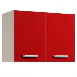 Meuble haut de cuisine contemporain 2 portes 80 cm blanc/rouge brillant Jackie
