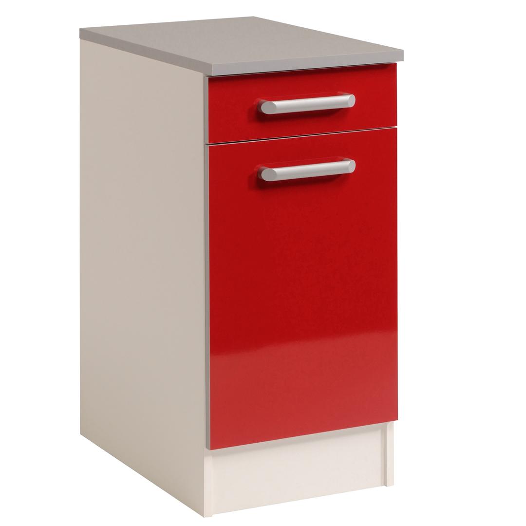 Meuble bas de cuisine contemporain 40 cm 1 porte/1 tiroir blanc/rouge brillant Jackie