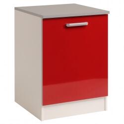Meuble bas de cuisine contemporain 60 cm 1 porte blanc/rouge brillant Jackie