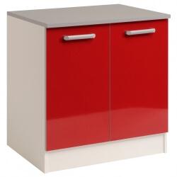 Meuble bas de cuisine contemporain 80 cm 2 portes blanc/rouge brillant Jackie