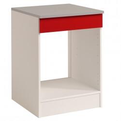 Meuble de cuisine contemporain pour four 60 cm blanc/rouge brillant Jackie