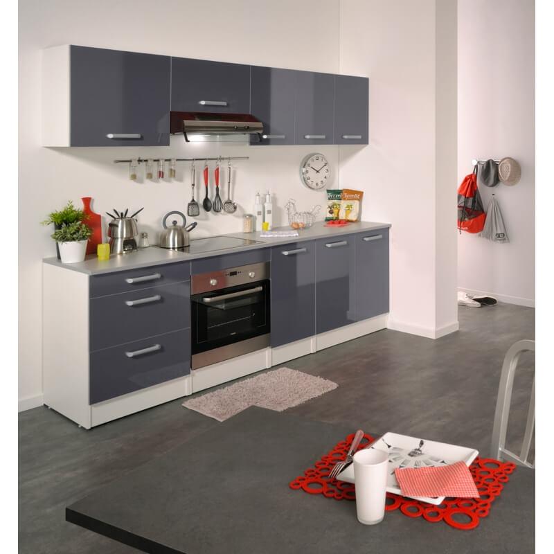 meuble bas de cuisine contemporain 120 cm 2 portes blanc gris brillant romaric matelpro. Black Bedroom Furniture Sets. Home Design Ideas