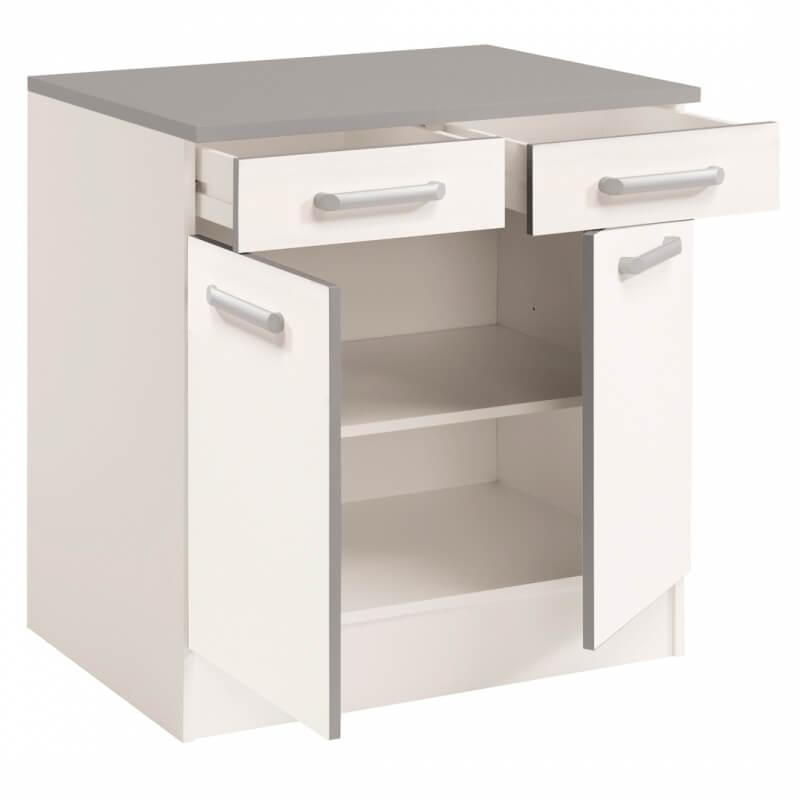 meuble bas de cuisine contemporain 80 cm 2 portes 2 tiroirs blanc brillant bianco matelpro. Black Bedroom Furniture Sets. Home Design Ideas