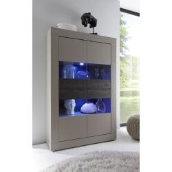 Vitrine 4 portes design avec éclairage coloris beige mat/wengé Geralda
