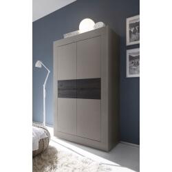 Vaisselier/argentier 4 portes design coloris beige mat/wengé Geralda