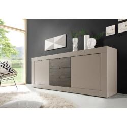 Buffet/bahut design 2 portes/3 tiroirs coloris beige mat/wengé Geralda