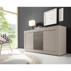 Buffet/bahut design 3 portes coloris beige mat/wengé Geralda