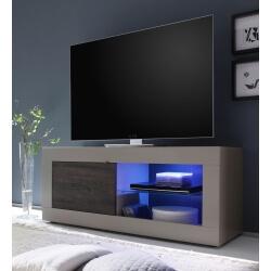 Meuble TV design 1 porte avec éclairage coloris beige mat/wengé Geralda