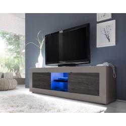 Meuble TV design 2 portes avec éclairage coloris beige mat/wengé Geralda