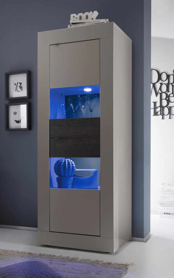 Vitrine 2 portes design avec éclairage coloris beige mat/wengé Geralda