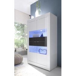 Vitrine 4 portes design avec éclairage coloris blanc/anthracite brillant Agatha