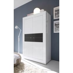 Vaisselier/argentier 4 portes design coloris blanc/anthracite brillant Agatha