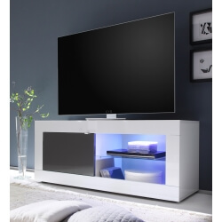 Meuble TV design 1 porte avec éclairage coloris blanc/anthracite brillant Agatha