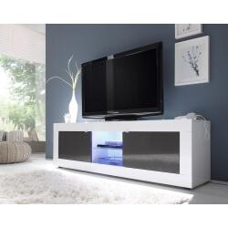 Meuble TV design 2 portes avec éclairage coloris blanc/anthracite brillant Agatha