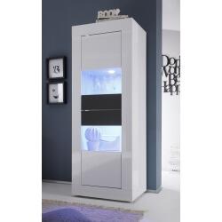 Vitrine 2 portes design avec éclairage coloris blanc/anthracite brillant Agatha