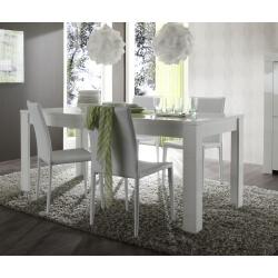 Table de salle à manger rectangulaire design coloris blanc Agathe