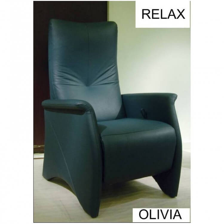fauteuil de relaxation cuir manuel avec repose pieds int gr olivia. Black Bedroom Furniture Sets. Home Design Ideas
