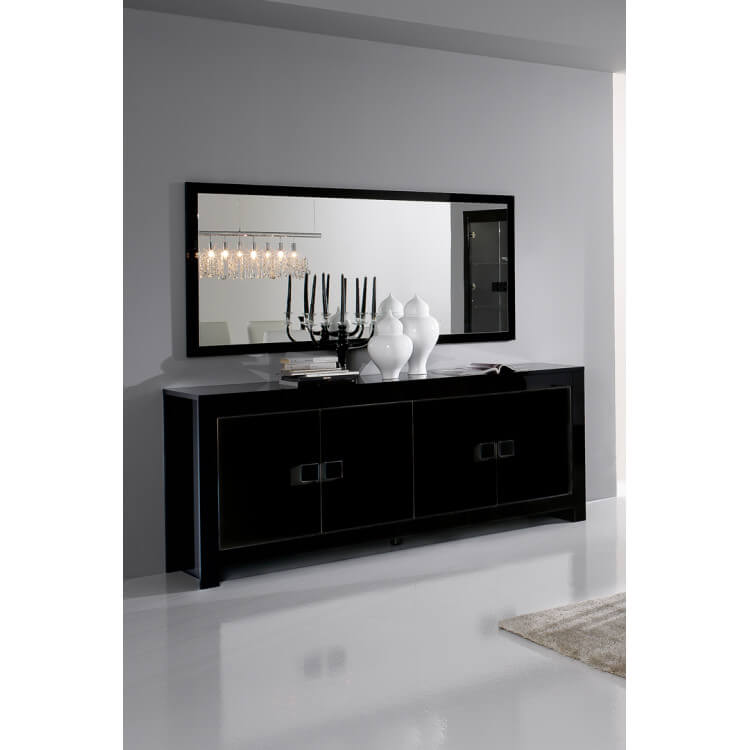 Buffet/bahut design 4 portes laqué noir brillant Escala