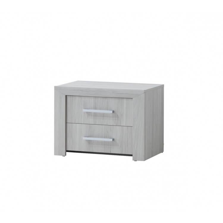 Chevet contemporain 2 tiroirs chêne clair Melinor
