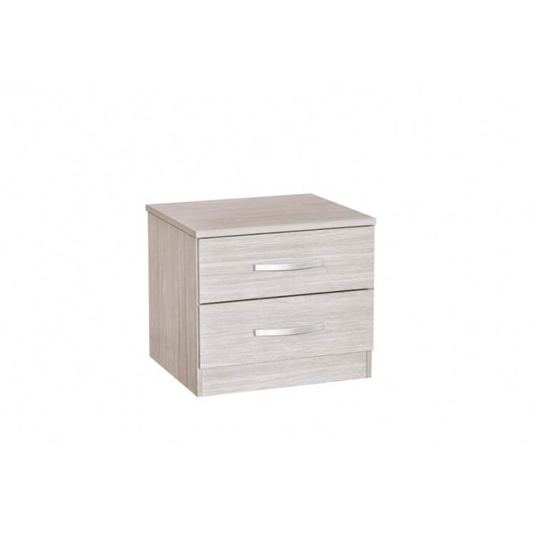 Chevet contemporain 2 tiroirs chêne gris Ismael
