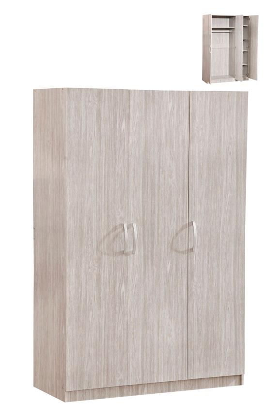 Armoire contemporaine 3 portes chêne gris Ismael