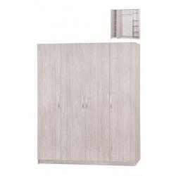 Armoire contemporaine 4 portes chêne gris Ismael