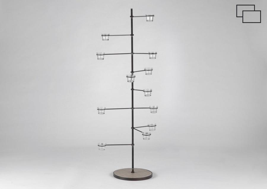 Bougeoir métal 12 branches sur socle FACTORY