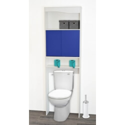 Meuble de rangement sanitaire en bois blanc/bleu Elvita