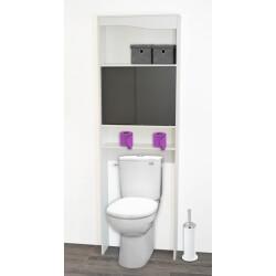 Meuble de rangement sanitaire en bois blanc/gris Elvita