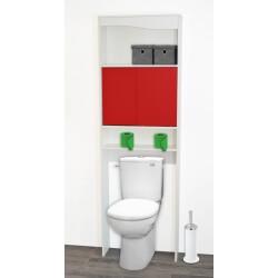 Meuble de rangement sanitaire en bois blanc/rouge Elvita