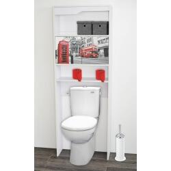 Meuble de rangement sanitaire en bois blanc/imprimé London Elvita