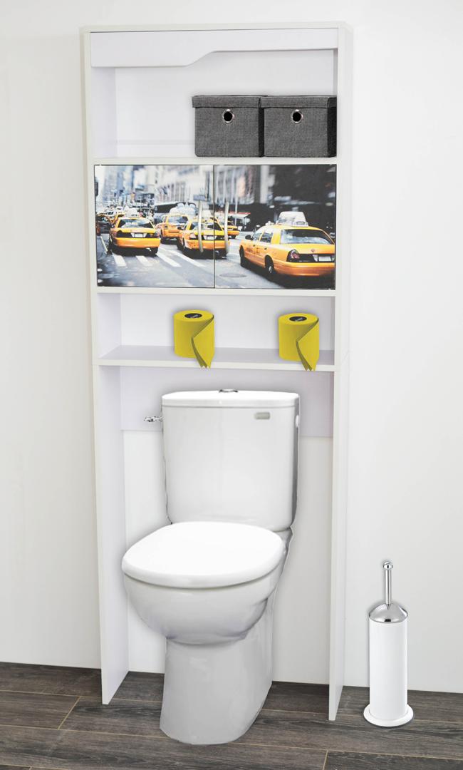 Meuble de rangement sanitaire en bois blanc/imprimé New York Elvita