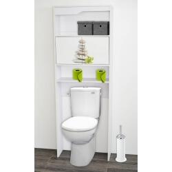 Meuble de rangement sanitaire en bois blanc/imprimé galets Elvita