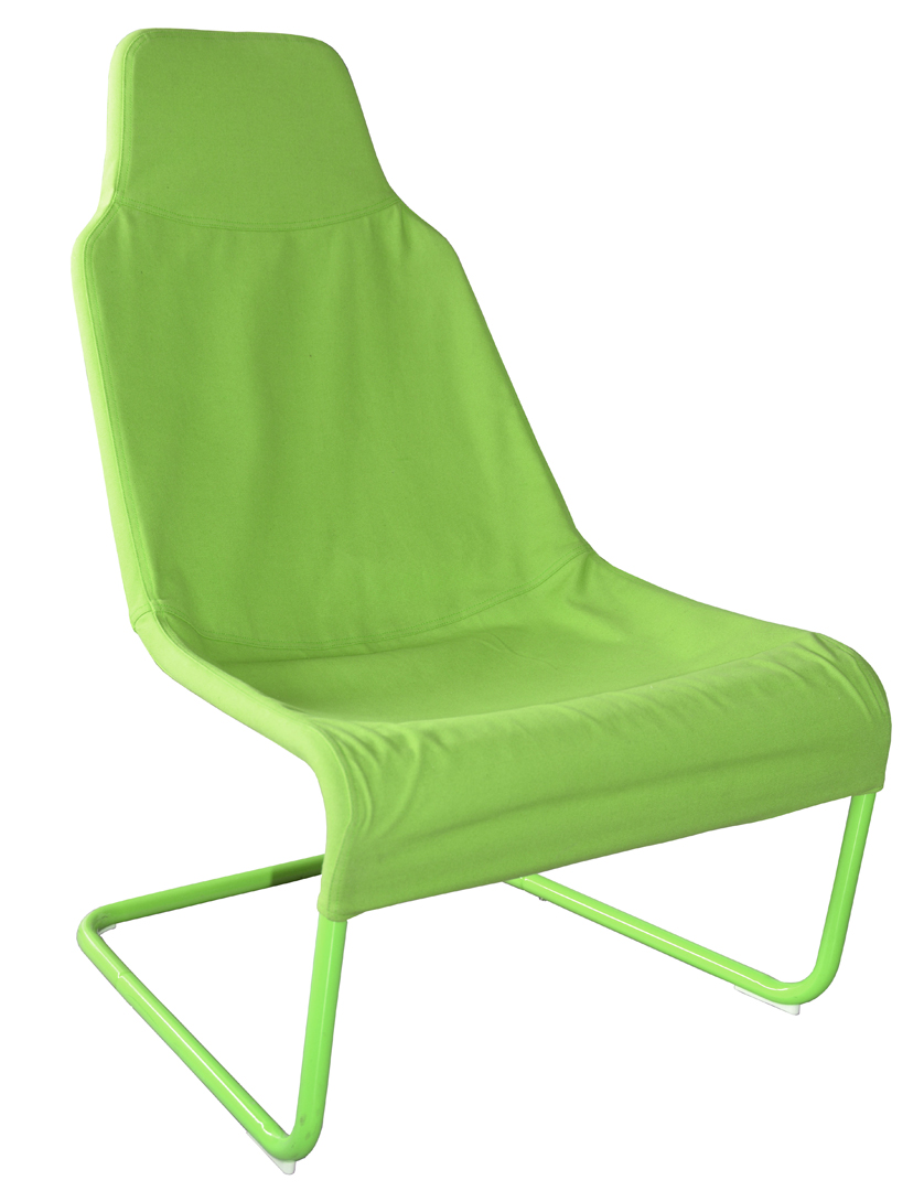 Fauteuil design métal et tissu coloris vert Ming