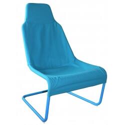 Fauteuil design métal et tissu coloris bleu Ming