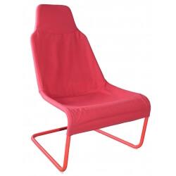 Fauteuil design métal et tissu coloris rouge Ming