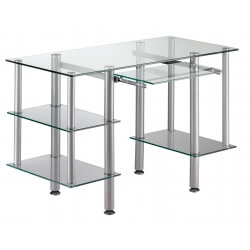 Bureau informatique design en verre transparent Dimitrio