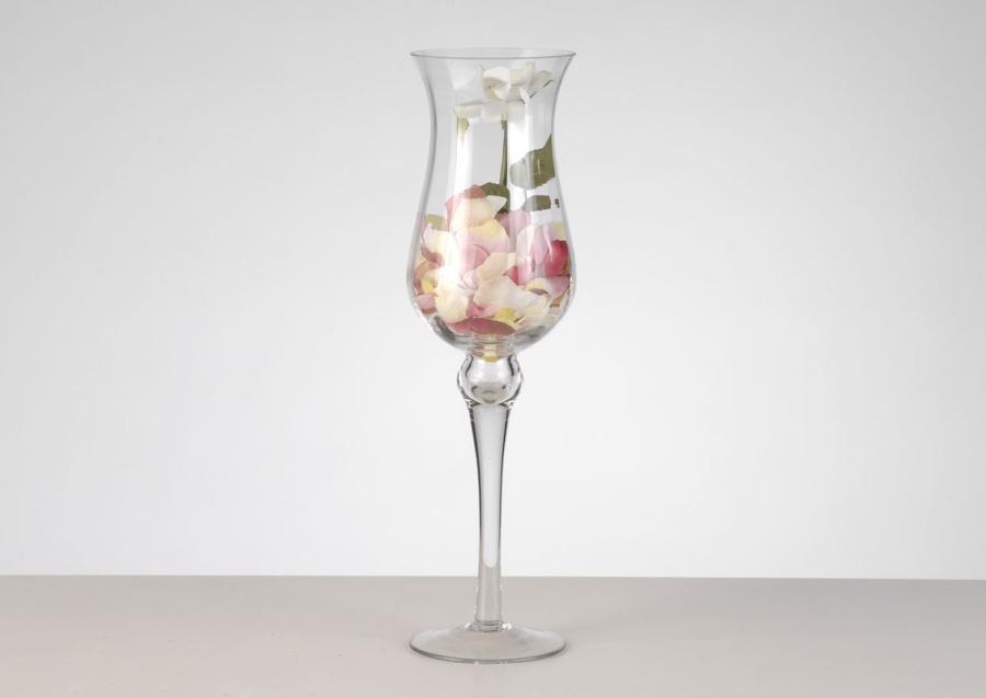 Photophore en verre sur pied 51 cm STRIE