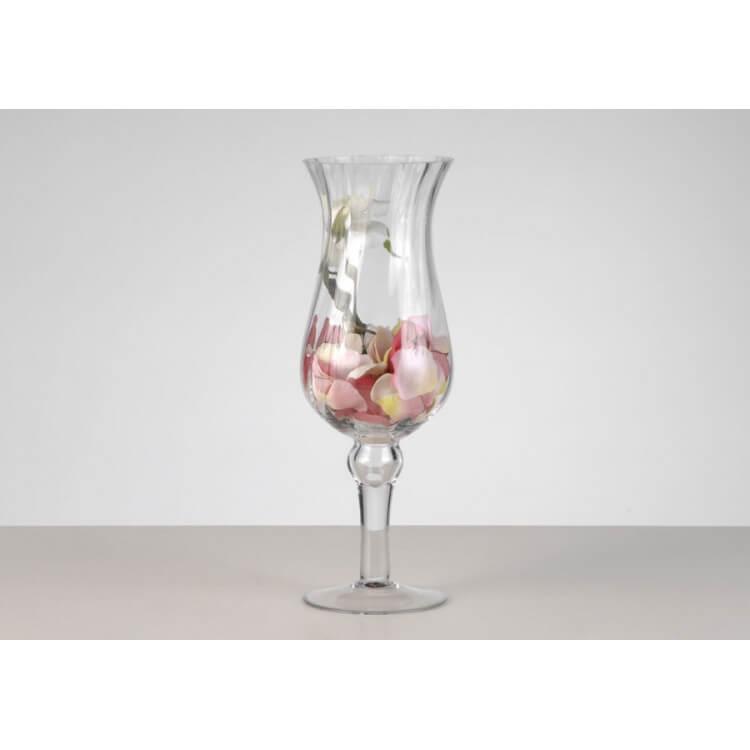 Photophore en verre sur pied 40 cm STRIE