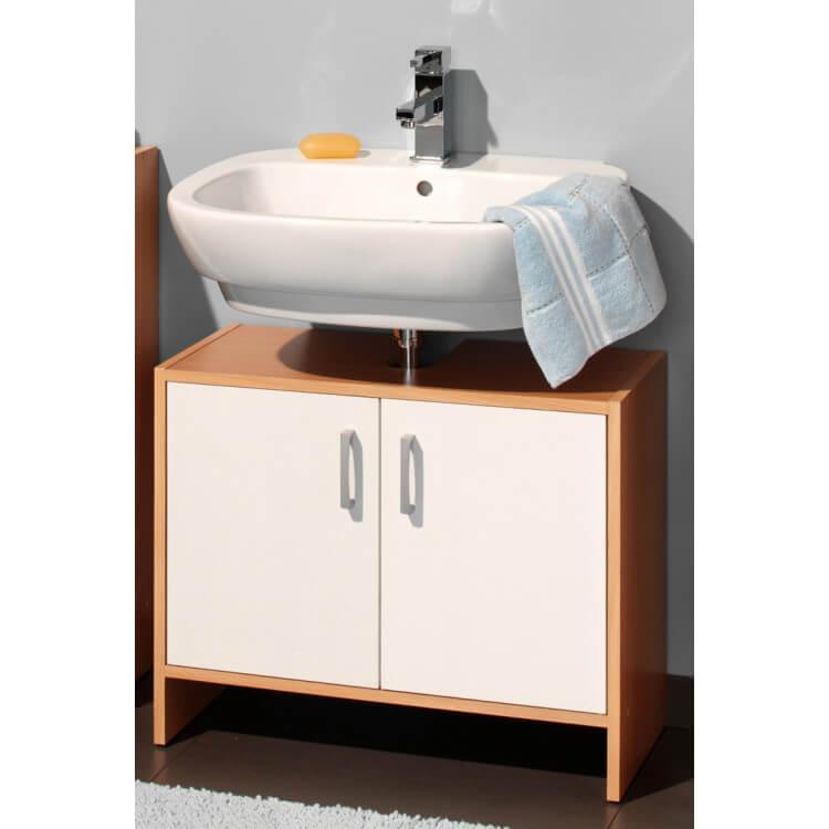 Meuble sous lavabo contemporain 2 portes coloris hêtre/blanc Brazil ...