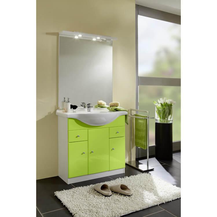 Meuble de salle de bain contemporain avec vasque et miroir blanc/vert Novo